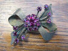Sparkly Deep Pink Cabs Gorgeous Bow Brooch Prong Set