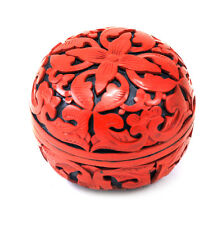 Vintage Chinese Lacquer Red Cinnabar Box Jewelry Powder Trinket - Floral