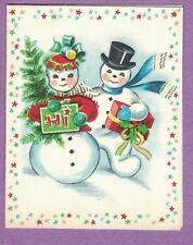 VTG CHRISTMAS CARD SNOWMAN COUPLE  PRESENT SIGN - HI TREE BORDER OF STARS