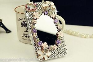 NEW BLING SUPER DELUX MIRROR FLOWER DIAMANTE CASE COVER 4 IPHONE 5 5S 6 7 8  UK