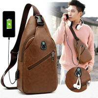 Mens Leather Shoulder Bag Sling Chest Pack USB Charging Crossbody Handbag Sport#