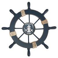 Wooden Nautical Beach Boat Ship Steering Wheel Fishing Net Shell Home Wall Decor