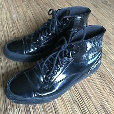 Diesel Shoes 8.5 Womens Sneakers Persis Black High Top Patent Leather Lace Up