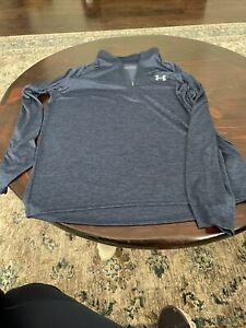 Men's Under Armour Heat Gear 1/4 Zip Blue and Black  Loose Size XL