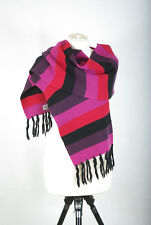 P272/28 Kickers Woolen Pink/Red/Black Striped Warm Winter Long Scarf Wrap Shawl