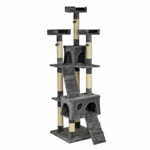 "66"" Sisal Hemp Cat Tree Tower Condo Furniture Scratch Post House"