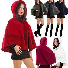 Poncho donna cappuccio pelliccia mantella cappa giacca cappotto nuovo AS-2233