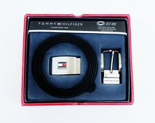 NEW TOMMY HILFIGER MEN'S BLACK LEATHER INTERCHANGABLE BUCKLE REVERSIBLE BELT SET
