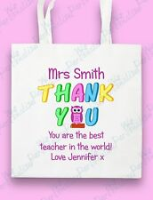 Personalised Teacher Thank You Tote Bag Teaching Assistant Gift End of Year Term