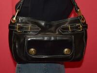 MARC JACOBS Black Leather Turnlock Pocket Shoulder Satchel Belted Purse Bag