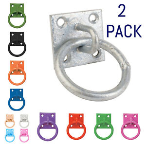 Perry Equestrian 2 Pack Tie Ring on 50mm Plate Stable Tie Up Ring Horse Pony