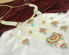 Indian Bollywood Gold Plated Multi Necklace & Earrings Maang Tikka Jewelry Set