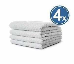 4 X Hand Towel Terry 50x100 White 100% Cotton Griechenbordüre & Waffle Pattern