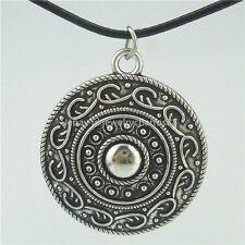 "Large Round Flower Totem Pendant Antique 16"" Collar Short Choker Necklace 14087"