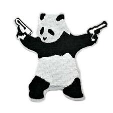 """PANDA WITH GUNS IRON ON PATCH 3"""" Embroidered Applique Pistols Black White Banksy"""