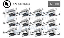 "4"" Inch New Construction Recessed Can Light Housing - IC Air Tight E26 (12 Pack)"