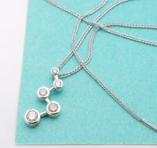"14k White Gold Five Stone Diamond Zig Zag Wheat Chain Pendant Necklace 16"""