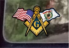 "ProSticker 083 (One) 3"" x 5"" American West Virginia Flags Masonic Decal Sticker"