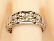 Men's 10K White Gold 1/5 ct tw 14-Round Natural Diamond Wedding Band Ring