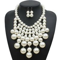 Fashion Jewelry Resin Pearl Chain Choker Chunky Statement Bib Necklace Earrings