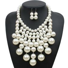 Fashion Jewelry Resin Pearl Chain Choker Chunky Statement Bib Necklace Earrings