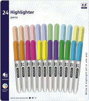 Highlighter Pens Pack of 24 Markers Assorted Neon Pastel Colour Shades