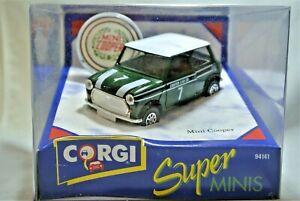 Mint New Corgi 94141 Super Minis Mini Cooper No 7 Green / White Roof with Badge