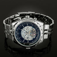 Mens Watch Mechancial Black Dial Stainless Steel Strap Self-winding Gloss Luxury