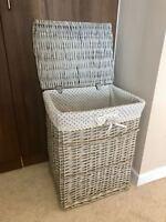Large Polka Dot Grey Wicker Laundry Basket Storage Box With Washable Lining Lid
