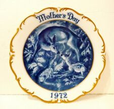 Dresden 1972 Mother's Day Plate, Made in Germany, Mama Deer and Baby Fawn