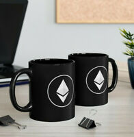 Ethereum Black Mug, Black Crypto Fan Coffee Cup, 2 Sided Ethereum ETH Gift Mug
