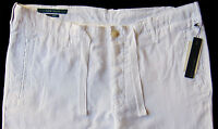 Men's PERRY ELLIS White Pure Linen Drawstring Pants Tagged 36 NWT NEW Amazing!