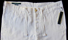 Men's PERRY ELLIS White Pure Linen Drawstring Pants Tagged 38 NWT NEW Amazing!