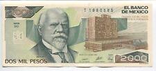 Mexico 2000 Pesos Unc 1989 Paper Money Crisp 20 Pcs Note 1/5 Bundle Consecutive