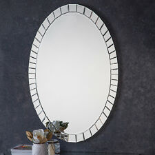 Travis Large Oval Unique Glass Frame Bevelled Modern Wall Mirror 120cm x 80cm