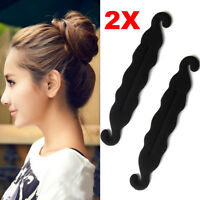 2PCS Sponge Clip Hair Styling Foam Donut Bun Curler Maker Ring Twist Tool FastUS