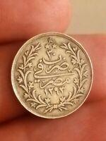 Coin Egypt 2 Qirsh KM# 293 1293 H / 30 silver rare Ottoman VF+ AbdulHamid II