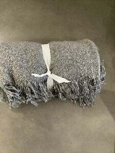 pottery barn heathered boucle fringe throw mineral blue #1130
