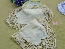 "2PCS Gorgeous 16X10"" Beige Oval HAND Embroidered JIMO lace Linen Doily Placemats"