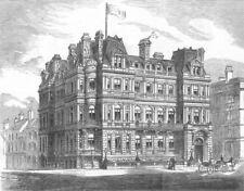 Lancs. New Conservative Club-House, Liverpool, antique print, 1882