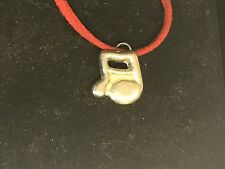 """Music Note TG31A English Pewter On 18"""" Red Cord Necklace"""