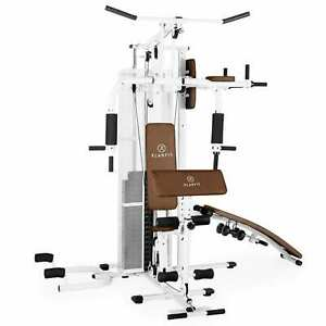 Kraftstation Fitnessstation Hantelbank Multifunktional Heim Trainer 44kg Weiss