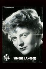 PHOTOGRAPHIE sur publicité de la chanteuse SIMONE LANGLOIS avec AUTOGRAPHE
