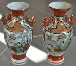 ANTIQUE JAPANESE SATSUMA SIGNED PAIR VASES ANCIENT POTTERY OLD RED GOLD CERAMIC