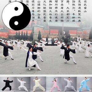 Unisex Tai chi Robe Train Gym Clothes Uniform Kungfu Martial arts Wing Chun Suit