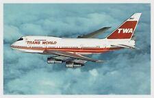 Vintage Postcard TWA Boeing 747SP-31 4 Engine Passenger Jet Aircraft Flying