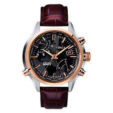 TIMEX Intelligent quartz t2n942 hommes noir marron World heure montre
