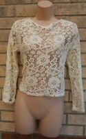 MANGO LONG SLEEVE CREAM FLORAL LACE CROCHET KNIT BAGGY TUNIC TOP BLOUSE 12 M