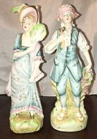 Antique Victorian Bisque Porcelain Courting Couple Large Figurines Hand Painted
