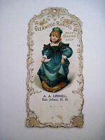 "Victorian Vintage Advertising Card for ""Glenwood Ranges"" w/Sweet Girl In Green *"